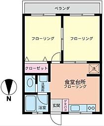 神奈川県横浜市青葉区たちばな台2丁目の賃貸アパートの間取り