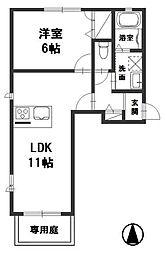 ソラーナ上富井[1階]の間取り