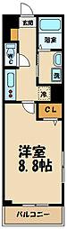 京王線 調布駅 徒歩9分の賃貸マンション 4階1Kの間取り