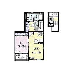 つくばエクスプレス 南流山駅 徒歩13分の賃貸アパート 2階1LDKの間取り
