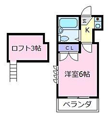 レオパレス布忍B棟[2階]の間取り
