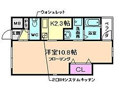 YOSOZAEMON 2階1Kの間取り