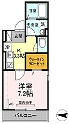 JR横須賀線 新川崎駅 徒歩16分の賃貸アパート 2階1Kの間取り