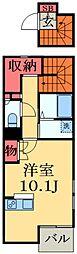 JR総武本線 四街道駅 徒歩25分の賃貸アパート 2階ワンルームの間取り