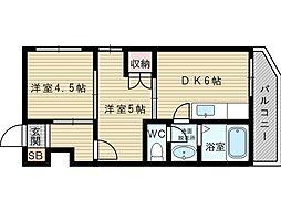 片山町マルダイビル 2階2DKの間取り