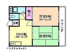 大阪府池田市荘園1丁目の賃貸マンションの間取り