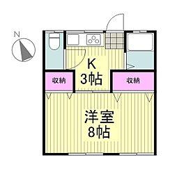 東京都昭島市上川原町2丁目の賃貸アパートの間取り
