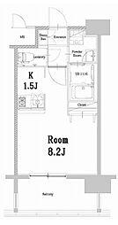 福岡市地下鉄空港線 中洲川端駅 徒歩14分の賃貸マンション 15階1Kの間取り