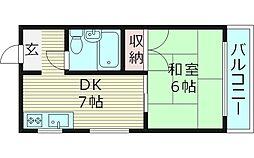 フラワーハイツ 3階1DKの間取り