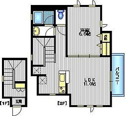 東急東横線 都立大学駅 徒歩10分の賃貸マンション 2階1LDKの間取り