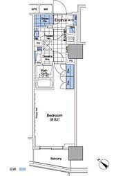 パークハビオ赤坂タワー 4階1Kの間取り