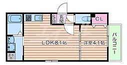 おおさか東線 南吹田駅 徒歩7分の賃貸アパート 2階1LDKの間取り