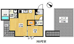 JR鹿児島本線 箱崎駅 徒歩9分の賃貸アパート 2階1LDKの間取り