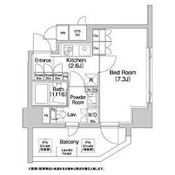 都営大江戸線 牛込神楽坂駅 徒歩1分の賃貸マンション 4階1Kの間取り