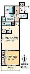 T-FLAT 4階1LDKの間取り