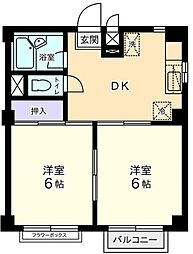 神奈川県横浜市青葉区もみの木台の賃貸アパートの間取り