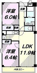 JR南武線 西国立駅 徒歩14分の賃貸マンション 1階2LDKの間取り