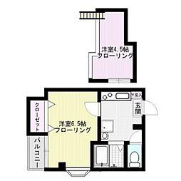 福岡県福岡市中央区高砂2丁目の賃貸アパートの間取り