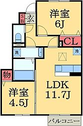 千葉県大網白里市みどりが丘2丁目の賃貸アパートの間取り