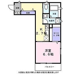 ベルフ武蔵小杉 2階1Kの間取り