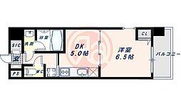 近鉄南大阪線 河堀口駅 徒歩7分の賃貸マンション 5階1DKの間取り