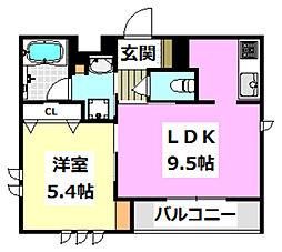 (仮称)シャーメゾン香露園 3階1LDKの間取り