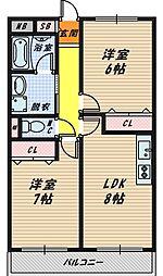 大阪府大阪市鶴見区放出東3丁目の賃貸アパートの間取り