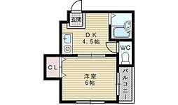 メイト淡路[1階]の間取り