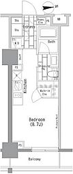 ザ・パークハビオ上野レジデンス 6階ワンルームの間取り
