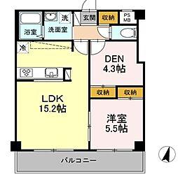 MOE MUSASHIKOSUGI 2階1SLDKの間取り