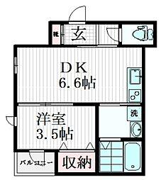 東急目黒線 武蔵小山駅 徒歩5分の賃貸マンション 3階1DKの間取り