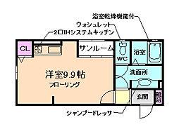 大阪府箕面市西小路3丁目の賃貸アパートの間取り