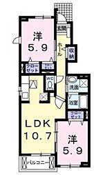 ミルレーヴ[1階]の間取り