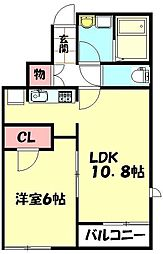 JR高崎線 北本駅 バス10分 公団地域学習センター前下車 徒歩4分の賃貸アパート 1階1LDKの間取り
