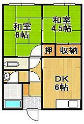御井アパート[202号室]の間取り