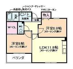 兵庫県宝塚市平井1丁目の賃貸マンションの間取り