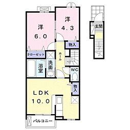 ルピナス ナカハマ 2階2LDKの間取り