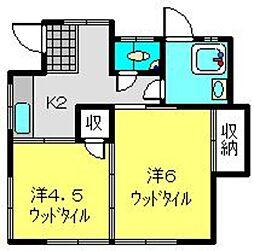 坪田貸家[1号室]の間取り