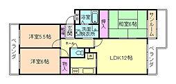 大阪府豊中市西緑丘2丁目の賃貸マンションの間取り