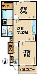 神奈川県横浜市旭区上川井町の賃貸アパートの間取り
