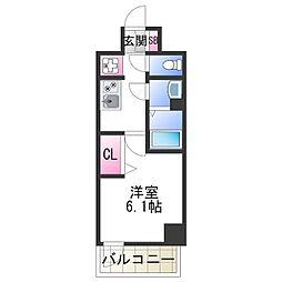 JR阪和線 美章園駅 徒歩9分の賃貸マンション 4階1Kの間取り