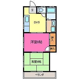 栃木県小山市城北3丁目の賃貸アパートの間取り