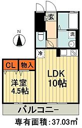 JR総武線 千葉駅 徒歩12分の賃貸アパート 3階1LDKの間取り