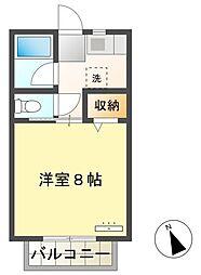 名鉄三河線 猿投駅 徒歩13分の賃貸アパート 2階1Kの間取り