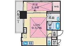 ノルデンタワー江坂プレミアム 15階1LDKの間取り
