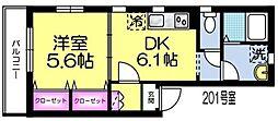 東京メトロ千代田線 根津駅 徒歩4分の賃貸マンション 2階1DKの間取り