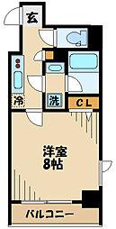 京王線 府中駅 徒歩5分の賃貸マンション 2階1Kの間取り