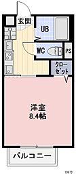 JR東海道本線 相見駅 徒歩17分の賃貸アパート 2階1Kの間取り
