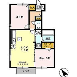 愛知県豊橋市牛川町字中郷の賃貸アパートの間取り