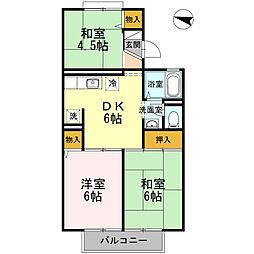 東京都日野市多摩平7丁目の賃貸アパートの間取り